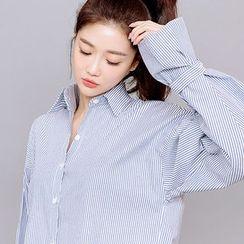 chuu - Tab-Cuff Stripe Shirt