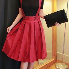 Chuvivi - Pleated Midi Suspender Skirt