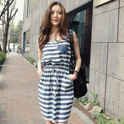 REDOPIN - Striped Sleeveless Drawstring-Waist Dress