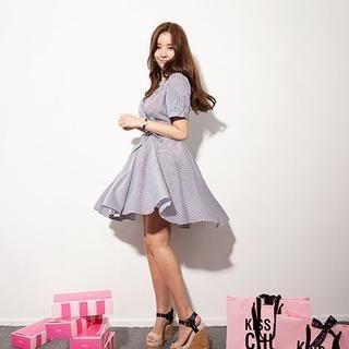 chuu - Puff-Sleeve Pinstriped A-Line Dress