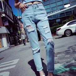 IndiGirl - Distressed Straight-Leg Jeans