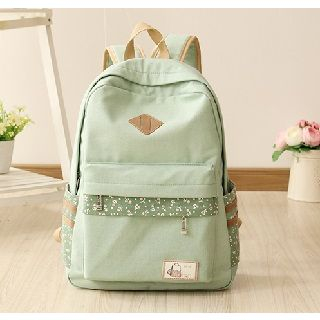 Canvas Love - Floral Trim Canvas Backpack