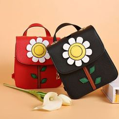 LineShow - Floral Faux Leather Backpack
