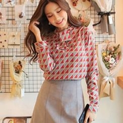 Cherryville - Tie-Neck Patterned Blouse