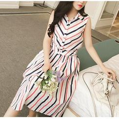 HazyDazy - Set: Stripe Sleeveless Shirt + Stripe Midi Skirt