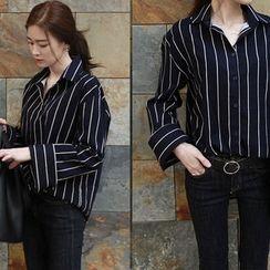 NIPONJJUYA - Wide-Cuff Stripe Shirt