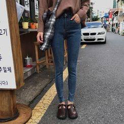 YUKISHU - 纯色窄身牛仔裤