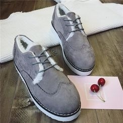 Hipsole - Fleece-Lined Faux-Suede Oxford Shoes
