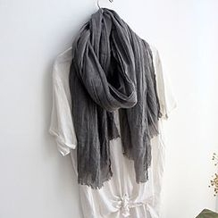 Cozykiss - Linen-blend Perforated Scarf