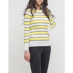 GUMZZI - Round-Neck Striped Knit Top