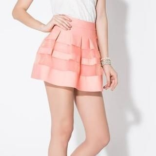 O.SA - Tulle Panel Striped Miniskirt