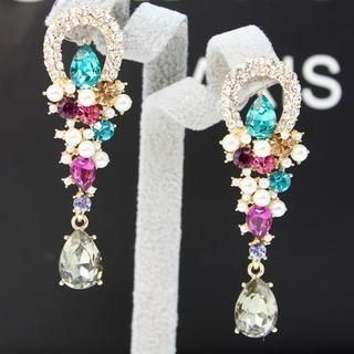 Supermary - Beaded Jeweled Drop Earrings