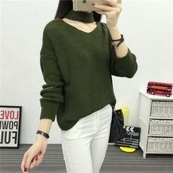Emeline - Halter Neck V-Neck Oversized Sweater