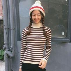 Dute - Mock-neck Stripe Knit Top