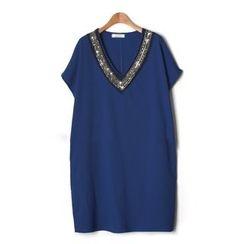 LIVA GIRL - 綴飾短袖連衣裙