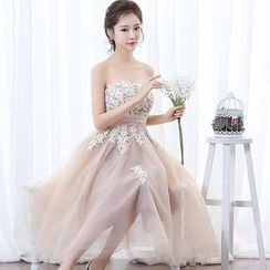 Gracia - Lace Appliqué Strapless Midi Prom Dress