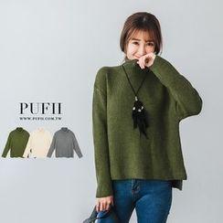 PUFII - 高領短版純色針織毛衣