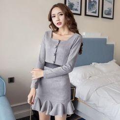 Neon Nite - Ruffle Hem Buttoned Long Sleeve Knit Dress