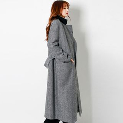 FASHION DIVA - Notched-Lapel Herringbone Maxi Coat