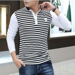 Coolba - 长袖条纹马球衫