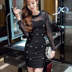 Neon Nite - Flower Applique Mesh Panel Long Sleeve Mini Dress