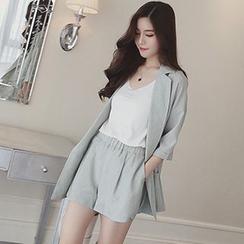 lilygirl - Set: Plain 3/4-Sleeve Blazer + Shorts