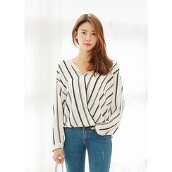 J-ANN - Half-Placket Striped Blouse