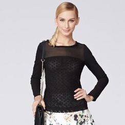 O.SA - Long-Sleeve Lace Panel Top