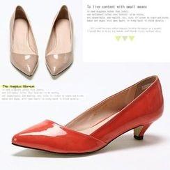 MODELSIS - Patent Leather Kitten Heel Pumps