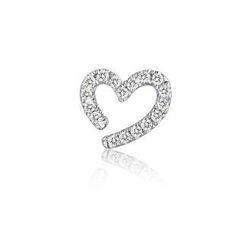 MBLife.com - Left Right Accessory - 9K White Gold Hollow Open Heart Pave Diamond Single Stud Earring (0.04cttw)