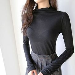 Hello sweety - Mock-Neck Plain Top