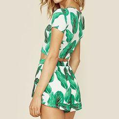 Obel - Leaf Print Shorts