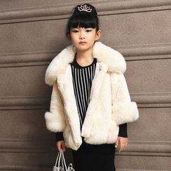 Fluff Snowy - Kids 3/4 Sleeve Faux-Fur Coat