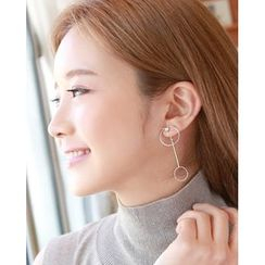 Miss21 Korea - Dual-Hoop Dangle Earrings