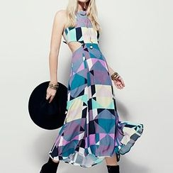 Obel - Sleeveless Cut Out Patterned Maxi Dress