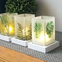 Thula Design - 印花玻璃燭台連電子蠟燭