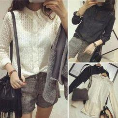 QZ Lady - Long-Sleeve Sheer Lace Shirt