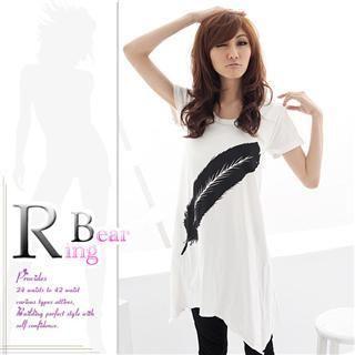 RingBear - Printed Hanky-Hem T-Shirt Dress