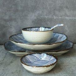 Rijushi - Set of 5: Japanese-Style Ceramic Bowl + Plate + Sauce Dish + Spoon
