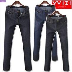 WIZIKOREA - Stitched Jeans