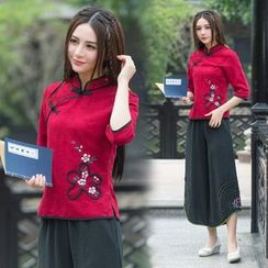Diosa - 3/4-Sleeve Chinese Button Top