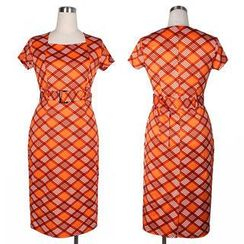 Forest Of Darama - Short-Sleeve Plaid Sheath Dress