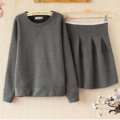 Ringnor - Set: Fleece-Lined Pullover + Pleated A-Line Skirt