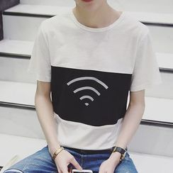 JVR - Wifi Print Short-Sleeve Crewneck T-Shirt