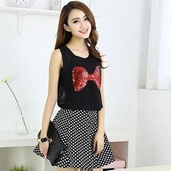Ando Store - Set: Sleeveless Sequined Bow Top + Dotted Skirt