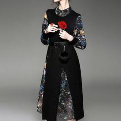 Alaroo - 套裝: 印花長袖A字連衣裙 + 開衩針織馬甲