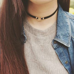 Pompabee - Twisted Metallic Circle Choker