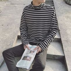 Breeson - Striped High Neck Long-Sleeve T-Shirt