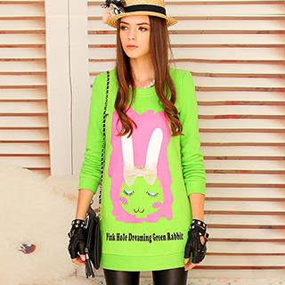 Dabuwawa - Rabbit-Print Long Pullover