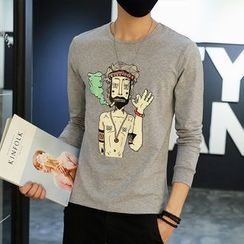 DUKESEDAN - Cartoon Print Long Sleeve T-Shirt
